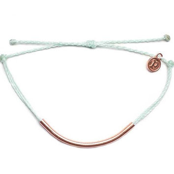Pura Vida - Rose Gold Bar Bracelet | Seafoam
