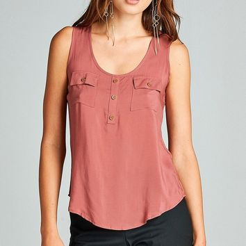 Woven Tank Top w/ Pockets - More Colors
