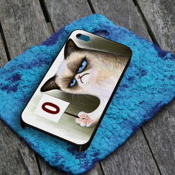 Angry Grumpy Cat iPhone 5 iPhone 4 / 4S Plastic Hard Case Soft Rubber Case