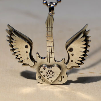 Sterling silver winged guitar necklace