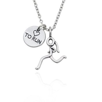 Marathon Running Girl Silver Necklace Pendant Heart Love To Run Sport Pendants Necklaces For Women Girls Gifts Creative Keepsake