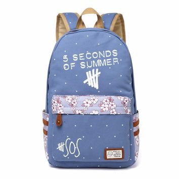 5 Seconds Of Summe 5SOS Canvas bag Flower wave point Rucksacks backpack Girls women School Bag travel Shoulder Bag