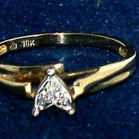 Genuine Diamond Accent Promise Friendship Ring size7 10K gold