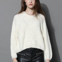Fluffy Cream Sweater with Tasseled Sleeves