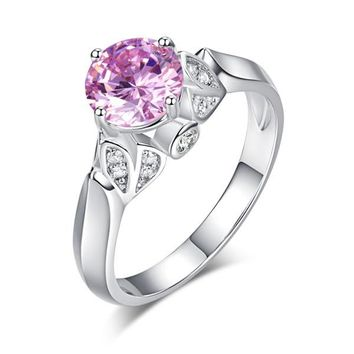 Flower 925 Sterling Silver Wedding Promise Anniversary Ring 1.25 Ct Fancy Pink Simulated Diamond Jewelry