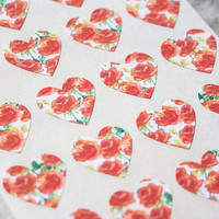 96 Rose Heart Stickers, Rose Stickers, Envelope Labels, Wedding Seals, Flower Stickers