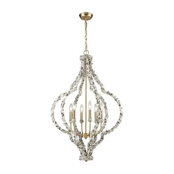 65359/6 Agate Stones 6 Light Chandelier In Satin Brass With Agate Stone Wrapped Frame - Free Shipping!