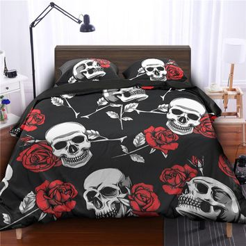 Fanaijia Rose flower sugar skull Print Duvet Cover set with pillowcase 3D printed skull Bedding Set King size AU Queen Bed