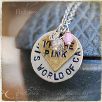 Pink in his World of Camo - Custom Personalized Necklace, Valentines, Deployment, Navy, Military Wife, Mixed Metals by rubiesandwhimsy