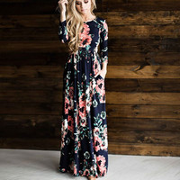 Ladies Navy Floral Print Maxi Spring Dress