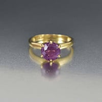 Antique Amethyst Solitaire Edwardian Engagement Ring