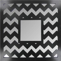 "14"" x 14"" Black or White Chevron Wall Mirror 