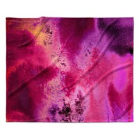 "Nina May ""Rosewater Sun"" Pink Purple Fleece Throw Blanket"