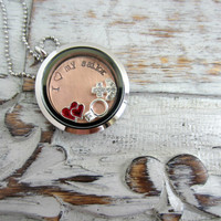 I love my sailor Stainless Steel and glass memory locket with crystal anchor, double red hearts, engagement wedding ring charm, Hand Stamped