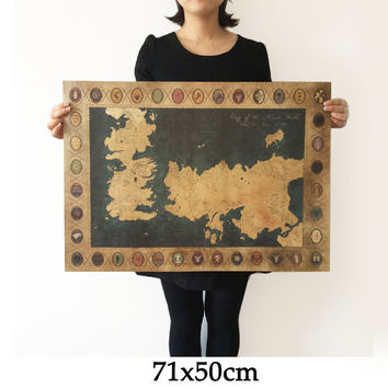 Game of Thrones World Map Vintage Kraft movie Poster Retro Wall art crafts sticker Living Room Paint Bar Cafe 71x51cm Free ship