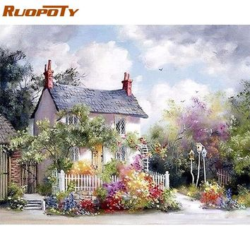 RUOPOTY Frame Rural House DIY Painting By Numbers Handpainted Oil Painting On Canvas Home Decor Wall Art Picture Artwork 40x50cm