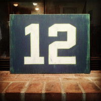 12th Man Sign, Hand Painted Wooden Seahawks Sign, Vintage Inspired 12th Man Sign