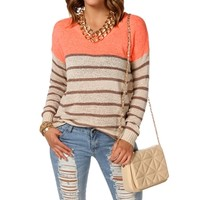 Coral/Taupe/Mocha Stripe Sweater