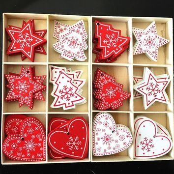 50pcs Christmas Holiday Wooden Collection Snowflakes Buttons Snowflakes Embellishments 18mm Creative Decoration Home & Garden Apparel Sewing & Fabric