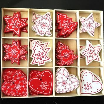 5CM Noel Christmas Ornaments Natural Wooden Pendant Snowflake Wood Diy Crafts Gifts Xmas Tree Decoration for Home New Year Decor