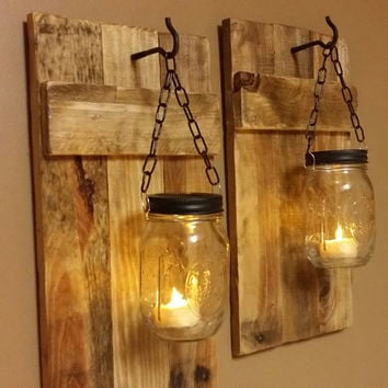 Mason Jar Candle Holder Set Of 2 Rustic Candles Country Deco