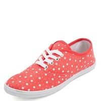 STAR PRINT CANVAS LACE-UP SNEAKER