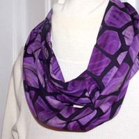 Infinity scarf, circle scarf, cowl scarf  for ladies in lovely purple print