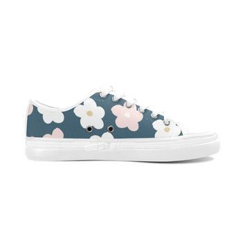 Dark Green Floral Theme White Women's Nonslip Canvas Shoes