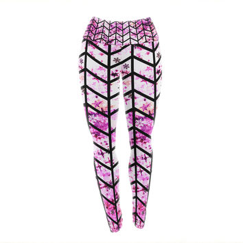 "Ebi Emporium ""Chevron Wonderland"" Pink Black Yoga Leggings"