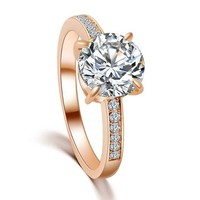 2ct Solitaire Diamond Ring - Cubic Zirconia - Rose Gold and Silver
