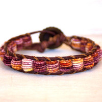 Boho Leather Bracelet, Shabby Chic, Fabric Textile Beads, PURPLE ORANGE
