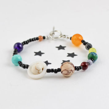 Solar System Bracelet, Outer Space Bracelet, Planets Bracelet, Planets Jewelry, Galaxy Bracelet, Astronomy Jewelry, Geeky Gifts, Unisex Gift