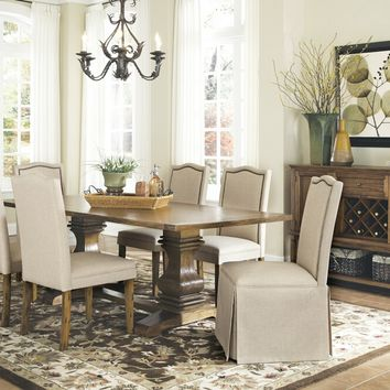 7 pc Parkins collection coffee finish wood country style textured surface dining table set with pedestal base