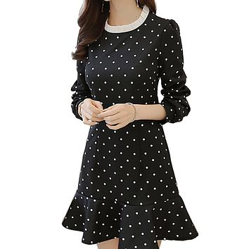 2016 Spring Black Polka Dot Printed Long Sleeve Casual Long-sleeved Dress Stitching Slim Was Thin Vestidos Party Dresses~no.142