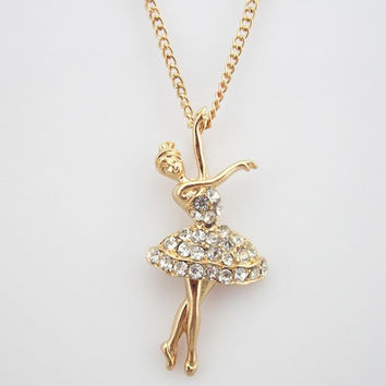 Rhinestone Dancing Ballet Girl Pendant Necklace