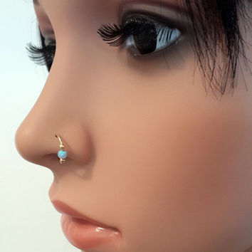 Sterling Silver Opal Nose Ring, 22 Gauge Extra Small Hoop Earring, cartialge, helix, tragus piercing  handcrafted nose jewelry