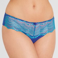 Lulu Tout , Amelie Thong at figleaves.com - French-inspired, sheer thong exudes style with spot embroidery and a pretty bow