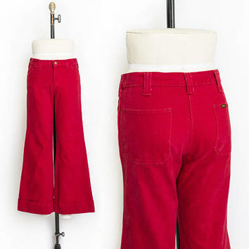 Vintage 1970s LEE Bell Bottoms - Red Cotton  Wide Leg Flare Jeans - Small / Medium