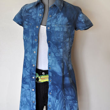 "Denim Shirt DRESS  - Hand Dyed Blue Upcycled Vintage Gap Denim Shirt Dress - Size 8 Small (36"" chest)"