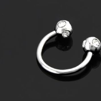New Arrival Labrets Horseshoe Shaped Clear Crystal Stainless Steel Lip Bar Ring Simple Durable Studs Body Piercing Decoration