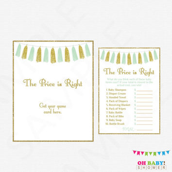 The Price is Right, Mint and Gold Baby Shower Games, Baby Shower Game AND Sign, Baby Price is Right Game, Mint Baby Shower, Printable, TASMG