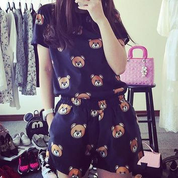 Women Casual Fashion Cartoon Bear Pattern Print Short Sleeve Shorts Set Two-Piece Sportswear