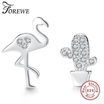 FOREWE New Fashion 925 Sterling Silver Swan Crystal Earrings For Women Girls Clear CZ Cactus Earrings Silver 925 Jewelry Gift