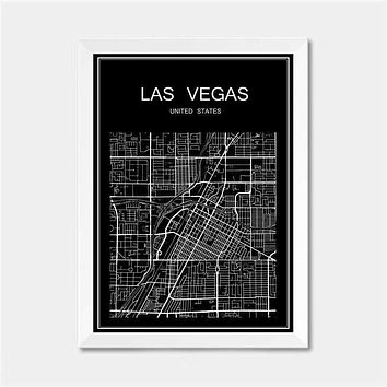 Las Vegas USA CITY World map poster abstract vintage paper print picture