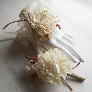 Sola Carnation Flower Wrist Corsage and/or Boutonniere, Made to Order.