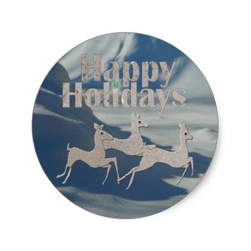 Happy Holiday Bronco Bucks Classic Round Sticker