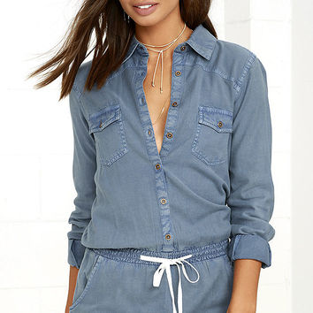 Element Eden Poppy Blue Chambray Romper
