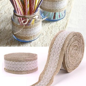 10M Rustic Wedding Centerpieces Decorations Crafts Jute Ribbon Lace Natural Burlap Trims Party Cake Home Decor Supplies #91123