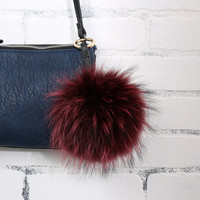 Linda Richards Fur Pom Keychain - Wine