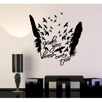 Vinyl Wall Decal Birds Feathers Motivational Words Dream Stickers Unique Gift (1009ig)